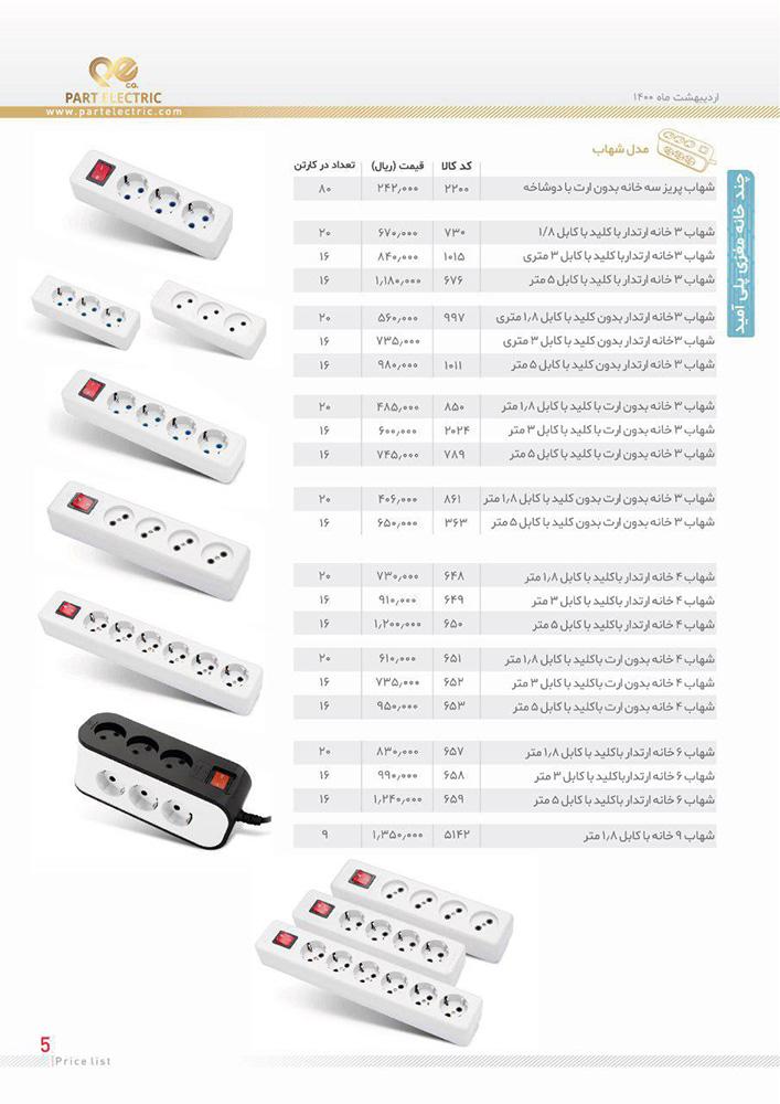 لیست قیمت چند خانه مغزی پلی آمید مدل شهاب پارت الکتریک
